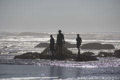 Silhouette of family and dog on rocks in ocean Royalty Free Stock Photo