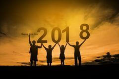 Family happy new year 2018. Silhouette family happy new year 2018 royalty free stock images