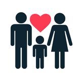 Silhouette family with heart. Vector Illustration Stock Photo