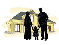 Silhouette family house on the background Royalty Free Stock Photos