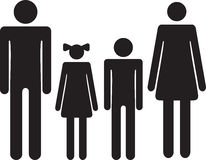 Silhouette family. Icon woman, man, boy, girl Royalty Free Stock Image