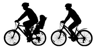 Silhouette of a family on mountain bikes, vector illustration set. Silhouette of a family on mountain bikes, vector illustration set stock illustration