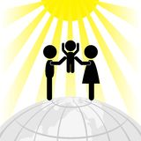 Silhouette of family on a round Earth Stock Photography