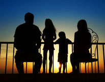 Silhouette of a family at sea Royalty Free Stock Image