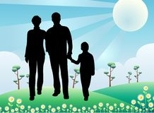 Silhouette family, sunny day Stock Photo