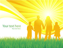 Silhouette family in sunny day background Royalty Free Stock Image
