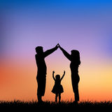 Silhouette of family Stock Photo