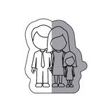 silhouette family with their dougther icon Stock Photo