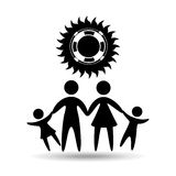 Silhouette family vacation lifebuoy icon Royalty Free Stock Images