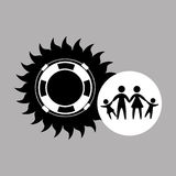 Silhouette family vacation lifebuoy icon Stock Images