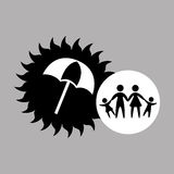 Silhouette family vacation umbrella protection Royalty Free Stock Image