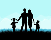 Silhouette of a family Stock Photo