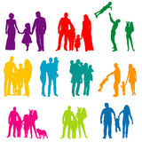Silhouette family. Vector, isolated, silhouette family with children, colorful Stock Images