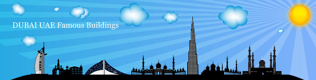 Silhouette Famous buildings. Vector Illustration. Royalty Free Stock Photo