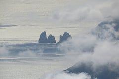 The faraglioni. The silhouette of the faraglioni rocks at capri island in italy royalty free stock photo