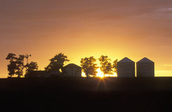 Silhouette of farm Stock Photography