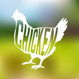 Silhouette of farm Hen black with text inside on Royalty Free Stock Photo