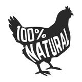 Silhouette of farm Hen black with text inside on Royalty Free Stock Image