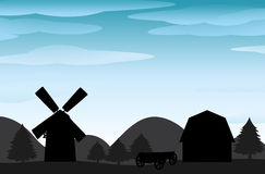 Silhouette farm Royalty Free Stock Photos