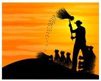 Free Silhouette Farmer Harvest Rice Cartoon Shape Royalty Free Stock Image - 128663846