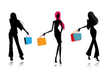 Silhouette fashion female shopping Royalty Free Stock Images