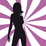 Silhouette fashion girl. Purple lines Royalty Free Stock Photography