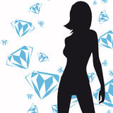 Silhouette fashion girl. Silhouette rich girl, rain diamond Stock Images