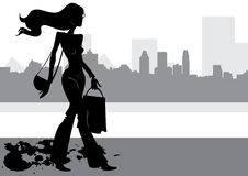 Silhouette fashion girl Stock Images