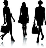 Silhouette fashion girls Stock Photo