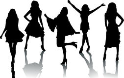 Silhouette fashion girls Stock Image