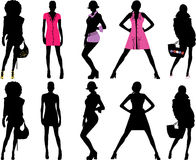 Silhouette fashion girls royalty free stock photography