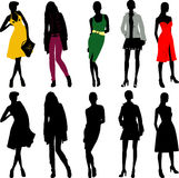 Silhouette fashion girls Royalty Free Stock Image