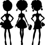 Silhouette fashion girls top models Stock Photography