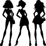 Silhouette fashion girls top models Royalty Free Stock Photos