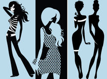 Silhouette of fashion girls Royalty Free Stock Images
