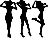 Silhouette fashion slim girls. Vector Fashion Model Silhouettes. Set design for different projects Royalty Free Stock Photography