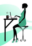 Silhouette of a fashionable pregnant woman Stock Photo