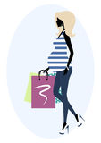 Silhouette of a fashionable pregnant woman Royalty Free Stock Image