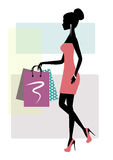 Silhouette of a fashionable shopping woman Royalty Free Stock Images