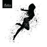 Silhouette of the fashionable woman with paint splashes. Stock Images