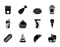 Silhouette fast food and drink icons Royalty Free Stock Photo