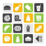 Silhouette fast food and drink icons Stock Photography
