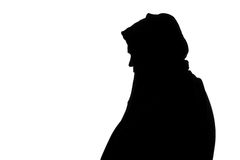 Silhouette of a fat man in a sports jacket Royalty Free Stock Photos