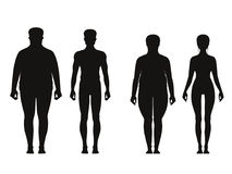 Silhouette of fat and thin peoples. Weight loss of overweight man and fat woman. Vector illustrations isolate Royalty Free Stock Photos