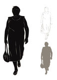 Silhouette of fat woman Stock Photos