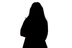 Silhouette of fat woman Stock Photo