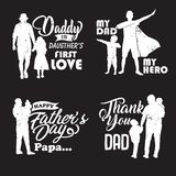 Silhouette Father and child with quotes in , illustration-01 stock illustration