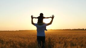 Silhouette of a father and child at sunset. The boy raises his hands in the air imitating a flight on a wonderful sunset