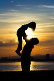 Silhouette of Father and daughter Royalty Free Stock Photography