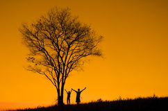 Silhouette of father holding hands held up Royalty Free Stock Image